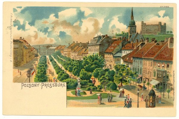 Hviezdoslavovo Square on a historical postcard