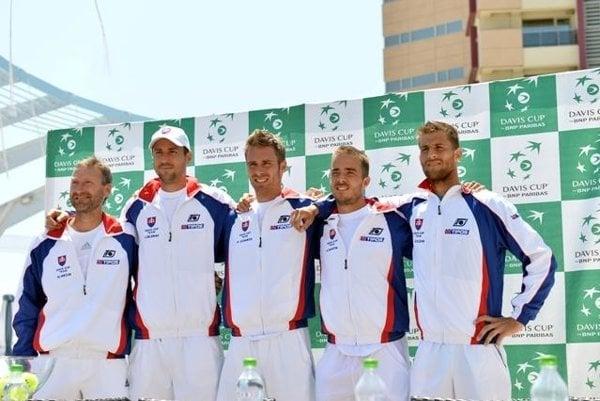 Slovak Davis-Cup team (R-L) Martin Kližan, Andrej Martin, Norbert Gombos, Igor Zelenay and captain Miloslav Mečíř.