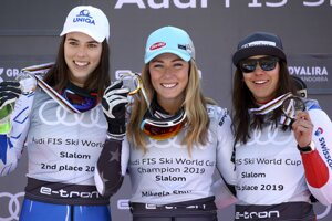 United States' Mikaela Shiffrin (centre), winner of the women's World Cup slalom discipline trophy, poses with second placed Slovakia's Petra Vlhová (left) and third placed Switzerland's Wendy Holdener, at the alpine ski, World Cup finals in Soldeu, Andorra, on March 16, 2019.
