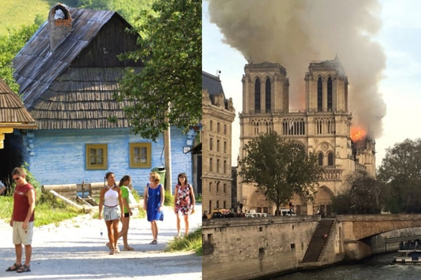 Vlkolínec (left) and Notre Dame (right) were named UNESCO sites in the early 1990s.
