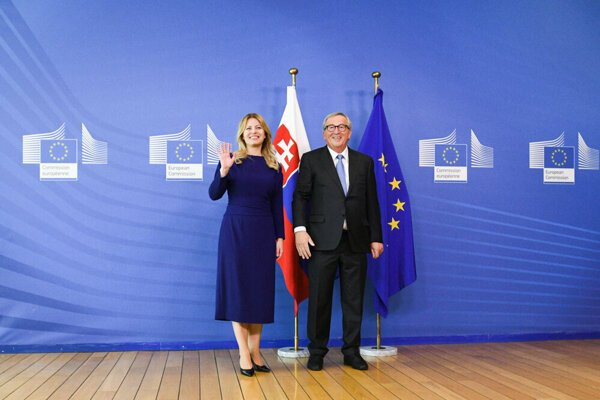 The Slovak president meets with EC President Jean-Claude Juncker on June 25, 2019.
