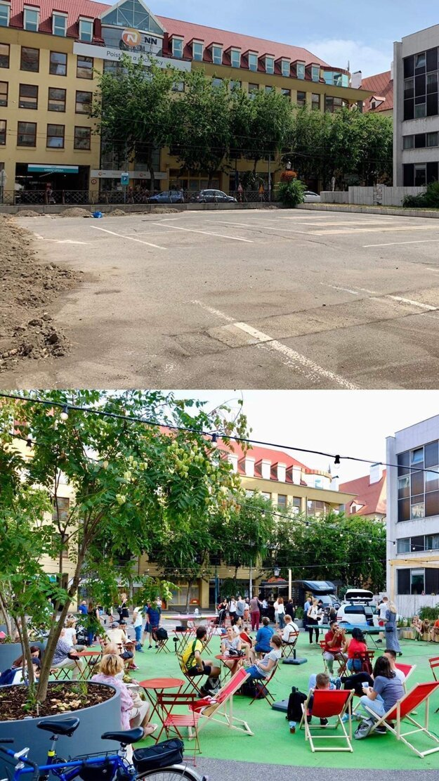 The previous and current look of the Komenského Square.