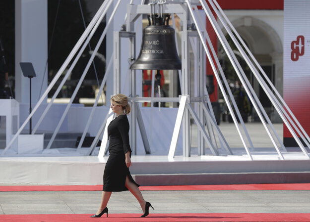 Slovakia's President Zuzana Čaputová arrives a memorial ceremony marking the 80th anniversary of the start of World War II in Warsaw, Poland on September 1.