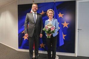 Slovak PM Peter Pellegrini meets future EC President Ursula von der Leyen.