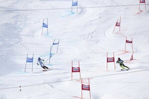 Slovakia's Petra Vlhová (l) and Sweden's Anna Swenn-Larsson (r) compete during an alpine ski, women's parallel slalom World Cup in St Moritz, Switzerland.