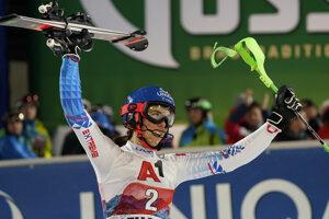 Slovakia's Petra Vlhová celebrates after completing an alpine ski, women's World Cup slalom in Flachau, Austria.