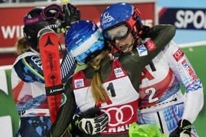 From left: second placed Sweden's Anna Swenn Larsson, third placed United States' Mikaela Shiffrin and the winner Slovakia's Petra Vlhová, celebrate after completing an alpine ski, women's World Cup slalom in Flachau, Austria.