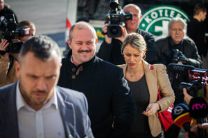 ĽSNS chair Marian Kotleba arrives at the Specialised Criminal Court in Pezinok on March 5, 2020.