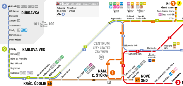 The public city transport as of March 14.