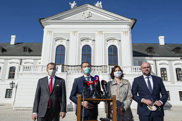 The representatives of the future coalition parties (l-r): Boris Kollár of Sme Rodina, Igor Matovič of OĽaNO, Veronika Remišová of Za Ľudí and Richard Sulík of SaS