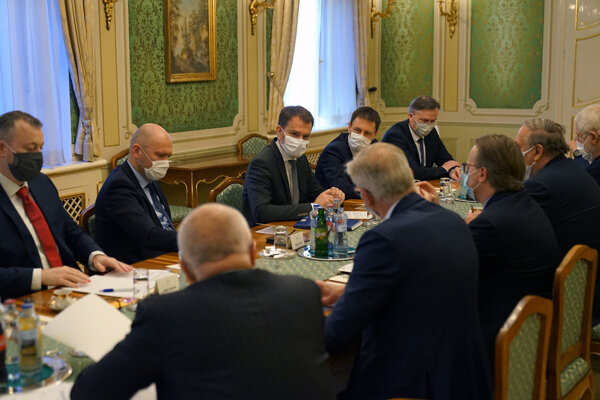 PM Igor Matovič, accompanied by the ministers of economy, finance, labour and others met for the first time with representatives of the big employees' sector.