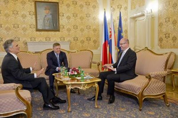 Austrian Chancellor Werner Faymann, Slovak PM Robert Fico and Czech PM Bohuslav Sobotka, from left.