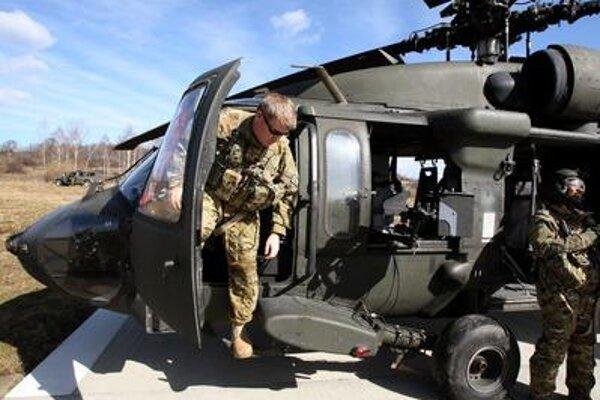 US' Black Hawk during a military training at Lešť base.