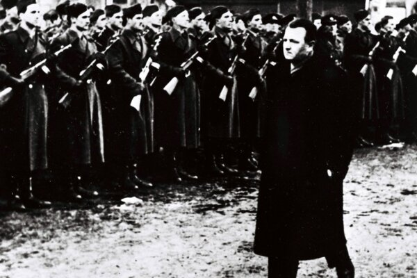 Prime Minister Klement Gottwald during the ceremonial parade of the People's Militia and the police forces on February 28, 1948 in Prague.