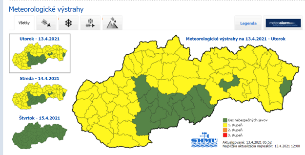 SHMÚ issued some other warnings against snow, snowdrifts and wind in the mountains.