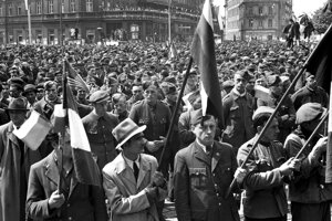A typical image of a pre-1989 May Day rally.