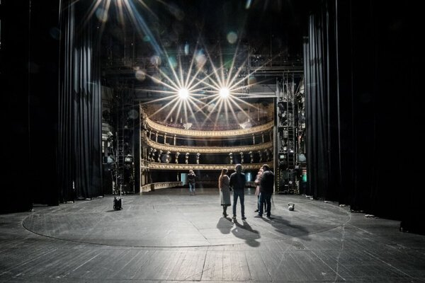A stage in the historical Slovak National Theatre building, Bratislava, Slovakia.
