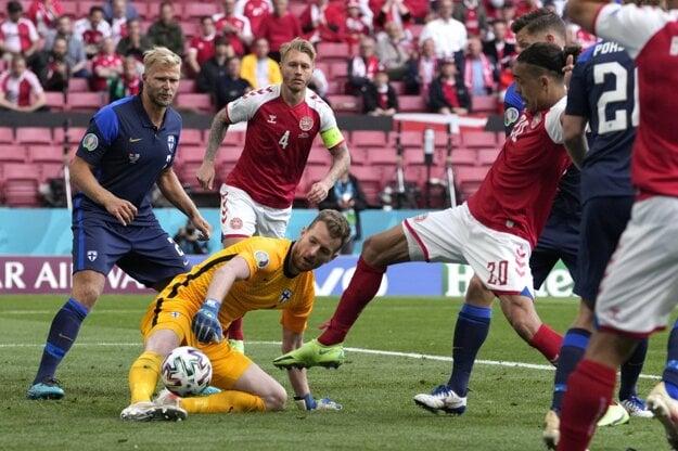 Finnish goalkeeper of Slovak origin Lukáš Hrádecký during a Denmark v Finland match at the Euro 2020 in Copenhagen on June 12, 2021.