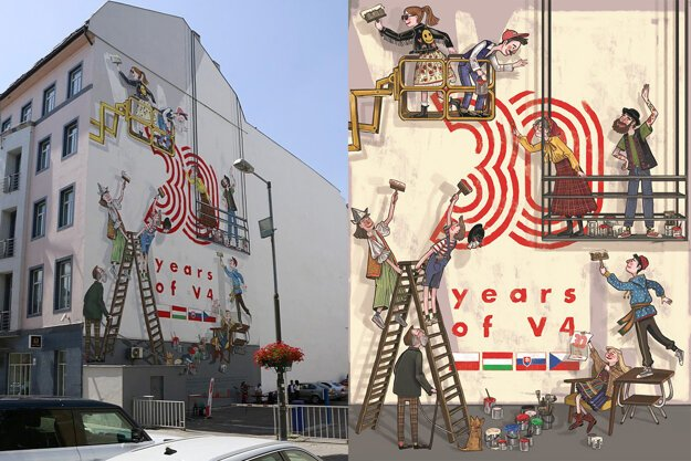 A mural is painted on a building at 3 Gorkého Street in Bratislava on the occasion of the creation of the Visegrad Group 30 years ago and the Polish Presidency, which ended on June 30. The same mural can be found in Prague, Budapest, and Warsaw.