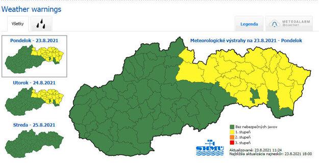 SHMÚ warnings against rainfall for August 23-24, 2021.