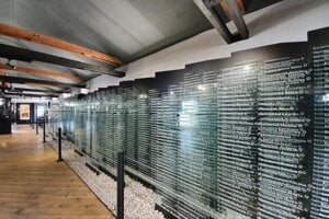The exhibition includes glass boards with the names of Jews who were deported from Slovakia.