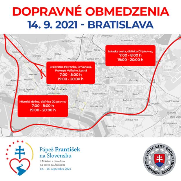 Traffic restrictions in Bratislava on September 14, 2021.