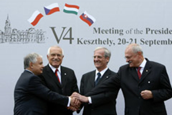 From left, Presidents Lech Kaczynski of Poland, Václav Klaus of the Czech Republic, László Sólyom of Hungary and Ivan Gašparovič of Slovakia during a summit in Keszthely, Hungary in September 2007.