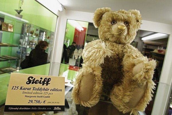 The limited edition teddy bear on display in Nitra.