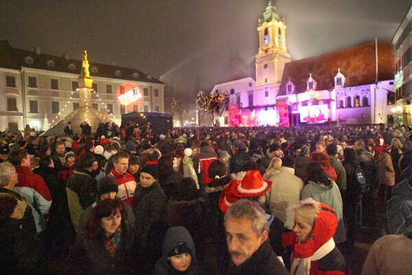 Revellers gathered in Bratislava's Main Square on New Year's Eve.
