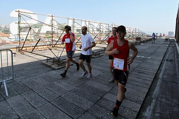 Sky runners on the roof of the Slovak Radio building in Bratislava.