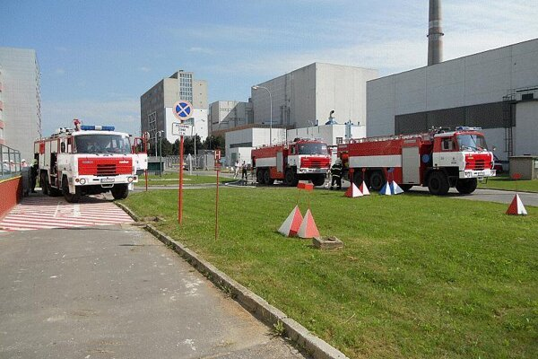 Testing the supply of water by fire engines at a Slovak nuclear power plant.