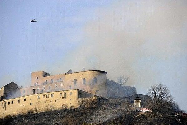 Smouldering ruin: Krásna Hôrka Castle on March 10.