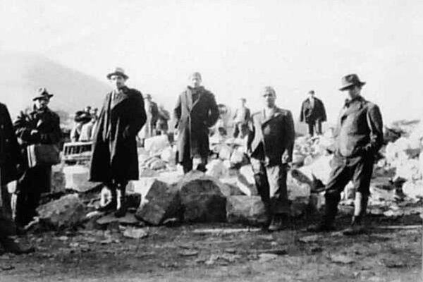 Builders from the labour camp.
