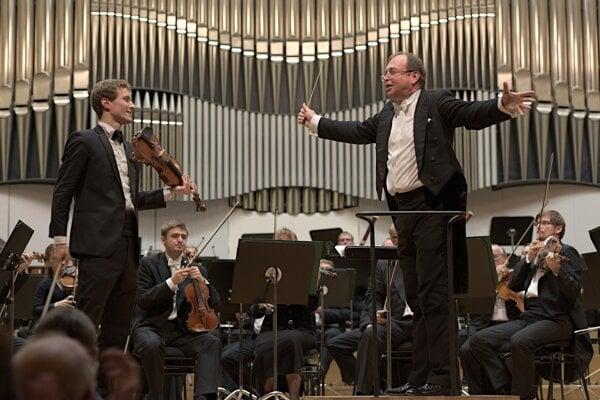 Slovak Philharmonics opening concert, with violinist Jan Špaček (L) and conductor Leoš Svárovský