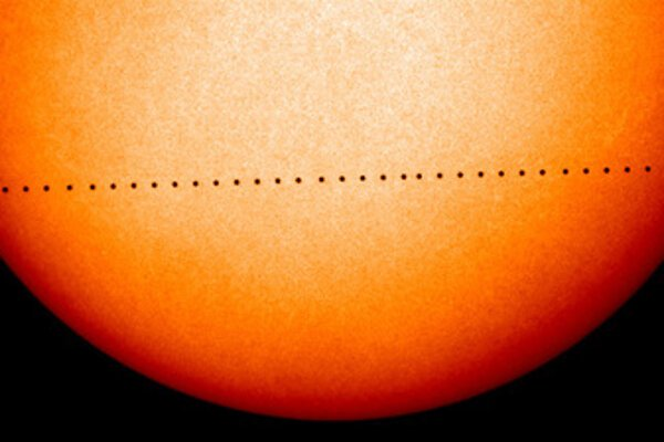 Image by NASA and the ESA's Solar and Heliospheric Observatory of an earlier (2006) Mercury transit.