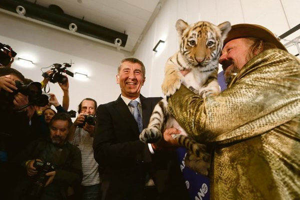 Andrej Babiš celebrates election success.