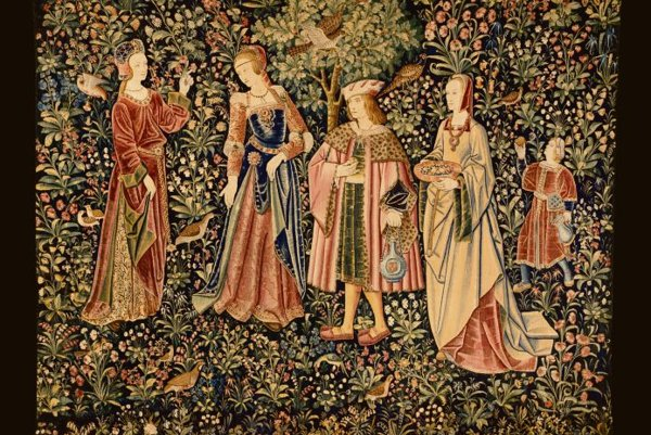 A tapestry depicting The Noble Life cycle from the Musée du Cluny (south Netherlands, around 1500).