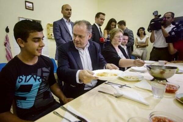 President Andrej Kiska had lunch in Hlohovec.