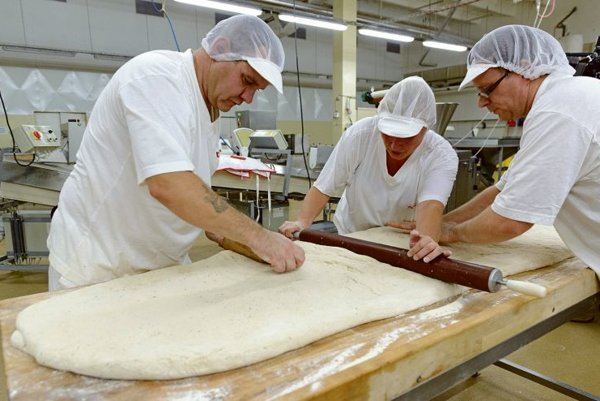 Bakers in Nitra making a record loaf of bread.