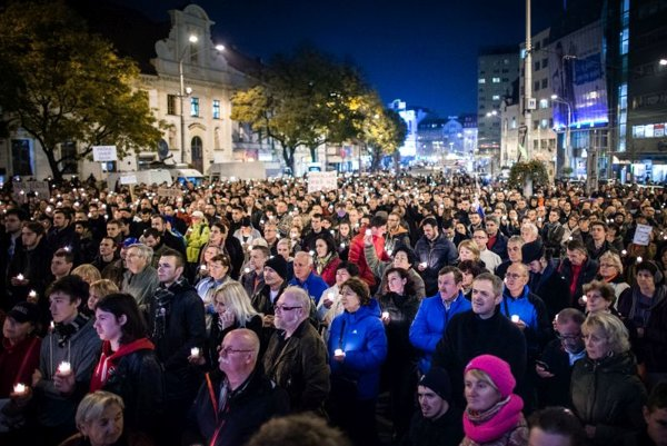 People protested against Paška in Bratislava as well.