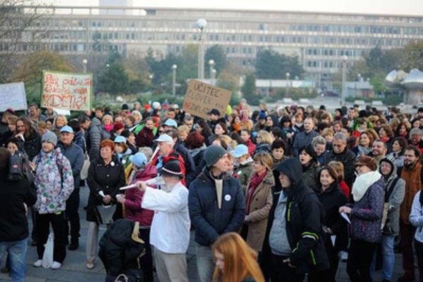 Teachers protested in Bratislava in November 2015.