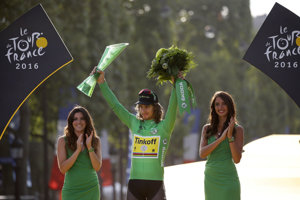 Sagan celebrates his voerall palcing at 103rd TdF