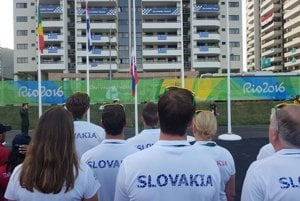 Raising the Slovak flag in athletes village in Rio de Janeiro, Brazil, August 1.