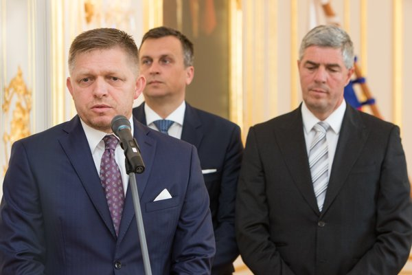 Leaders of the three coalition parties: Robert Fico, Andrej Danko, Béla Bugár (l-r).