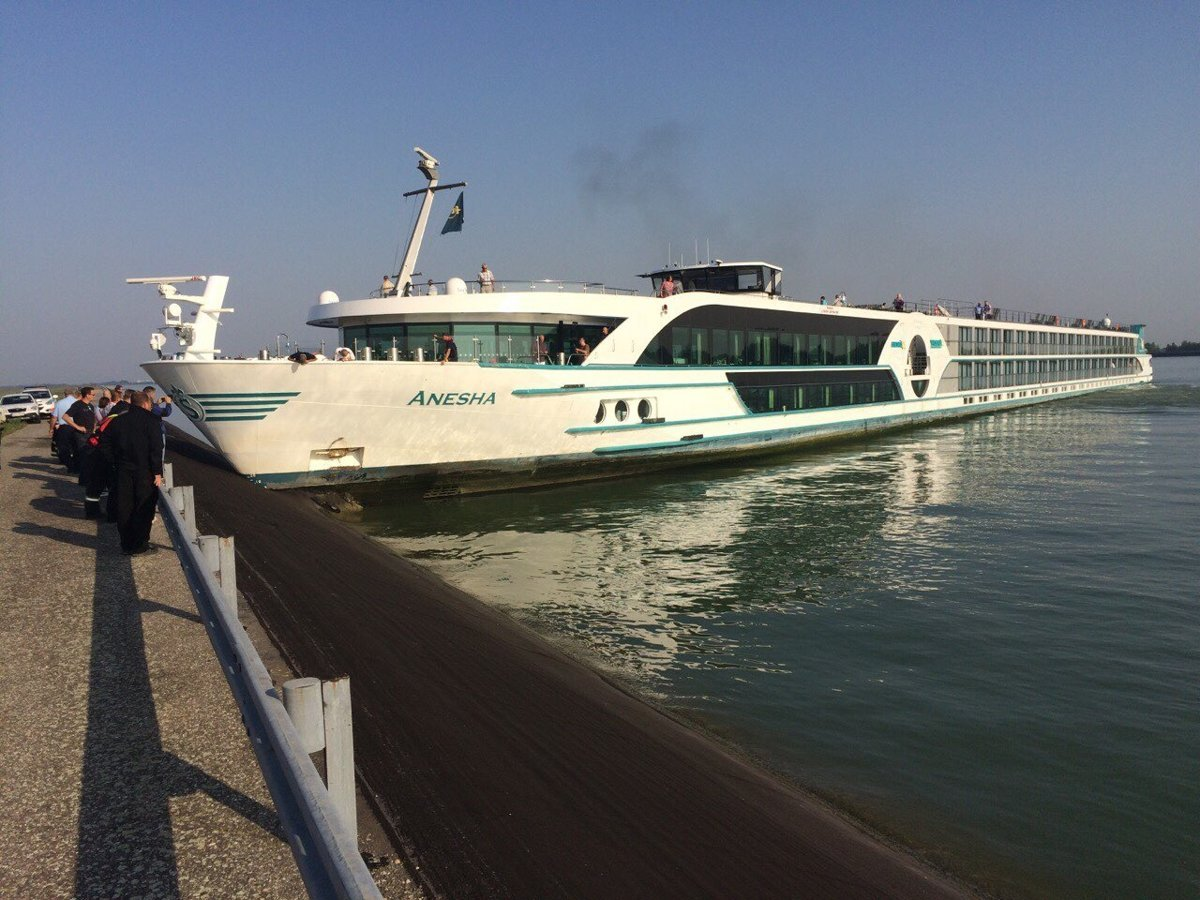Cruise ship crashes into Danube bank, nobody injured