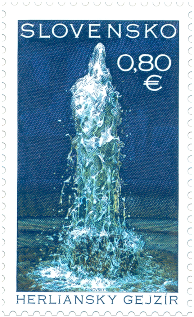 Herľany Geyser on the post stamp