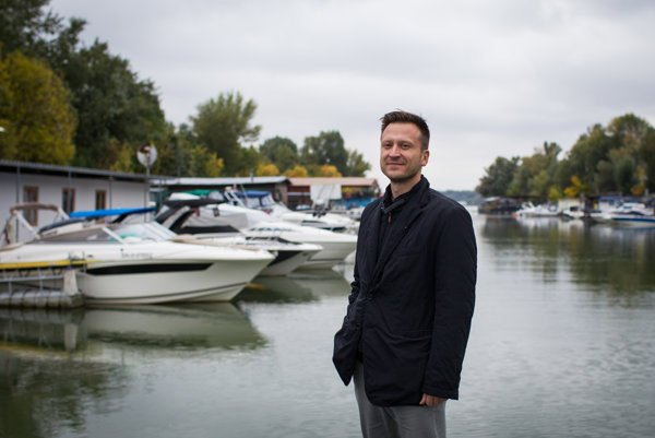Co-founder of Danube Fund Juraj Čorba at Vlčie Hrdlo port at the Danube River.