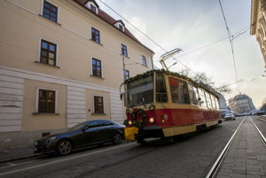 The Christmas Tram 2016 in the Bratislava streets.