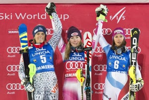 L-R: Second Veronika Velez-Zuzulová (SVK), winner Mikaela Shiffrin (USA) and third Wendy Holdener (SUI) in the World Cup slalom race in Semmering, Dec 29.