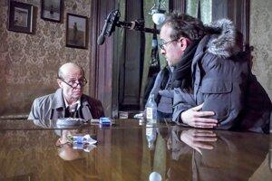 L-R: Karel Rodne (who plays Jan Masaryk) and director Julius Ševčík.
